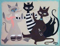 Mid Century Modern Retro Beatnik Cats- El Gato Gomez