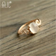 Rose gold moonstone ring natural moonstone ring vintage rose gold index finger ring  (The minimum order amount $10) US $18.96