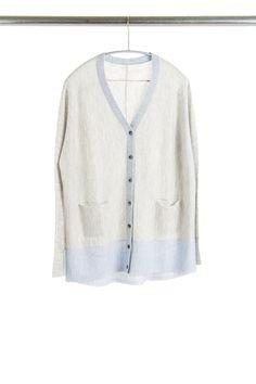 V-Neck Cardigan, Dove Grey/Soft Blue, 100% Fine Worsted Mongolian Cashmere | Paychi Guh