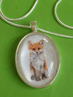 Fox Print Pendant Necklace by joytoyou41 on Etsy, $25.00