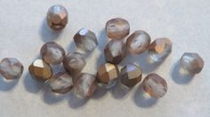 4mm CRYSTAL and Metallic COPPER Coated Czech by GlassBeadLover, $1.30