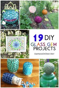19 Home & Garden Glass Gem DIY Craft Ideas - free instructions