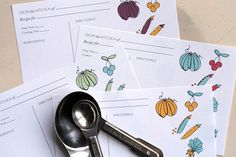 hand drawn recipe cards