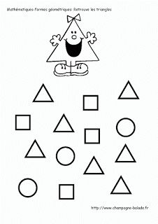 find the same Learning Shapes, Kids Learning, Craft Activities For Kids, Preschool Activities, Printable Mazes, Free Printable, Le Triangle, French Worksheets, Alphabet Writing
