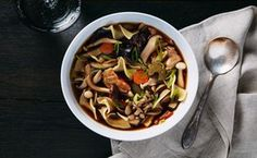 Wild Mushroom Noodle Soup- Recipe Image / Photo by Chelsea Kyle, Food Styling by Ali Nardi