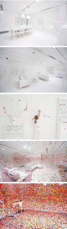 "What happens when you give thousands of kids thousands of colored dots in an all white room? The Obliteration Room-Interactive Art Exhibit // Queensland gallery of Modern Art // ""Obliteration Room"" by Yayoi Kusama"