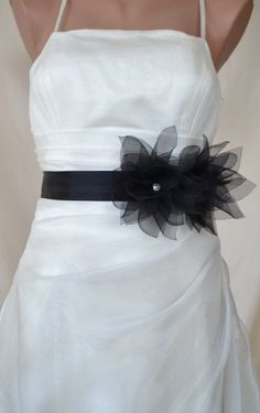 Handcraft Black Lotus Wedding Bridal sash Belt by elitewomen, $39.50 - Again, back to color focus. Black -- which is playful here -- is becoming very popular beyond very formal or evening weddings. In fact, there's a trend with understanding brides - to allow her party to where there best black dress that can be dressed up to formal & unite the party with matching accessories.