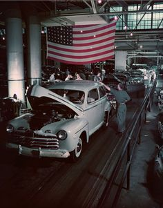 1946 Ford Rouge Building leaving assembly line. Fantastic picture!