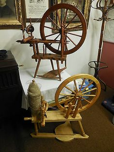 2 BEAUTIFUL Antique flax spinning wheels , Swedish and Hutterite working