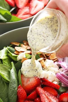 Looking for a healthy homemade salad dressing to make? Try our poppy seed dressing recipe. It's made with olive oil, lemon juice, a little Greek yogurt, poppy seeds, and honey. Growing up my mom had a salad a day and there was a 100% chance she topped it with a deliciously sweet store-bought poppyse… Greek Yogurt Salad Dressing, Yogurt Salad Dressings, Poppy Seed Dressing Healthy, Quinoa Salad Recipes, Salad Dressing Recipes, Healthy Recipes, Healthy Salads, Eating Healthy, Healthy Living