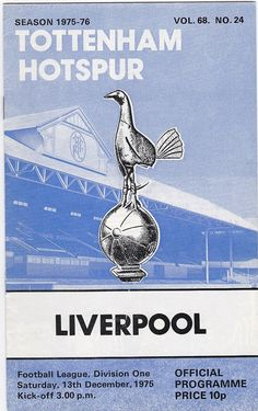 Vintage Football (soccer) Programme - Tottenham Hotspur v Liverpool, 1974/75 season #football #soccer #tottenham #spurs