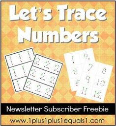 Number Tracing Printable {free to 1+1+1=1 Newsletter subscribers}