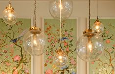 """Chinoiserie panels & """"bubble"""" light fixtures from Arteriors. From HOF mag."""