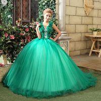 2015 Spring Wedding Floor Length Flower Decoration Elegant Double Shoulder Multicolour Green Wedding Dress