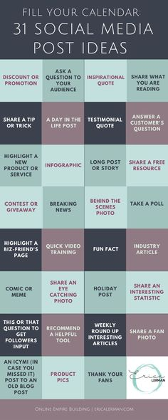 31 days worth of social media post ideas (scheduled via http://www.tailwindapp.com?utm_source=pinterest&utm_medium=twpin)