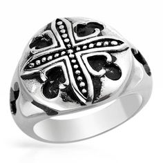 Stainless Steel Black Round Top Cross Band