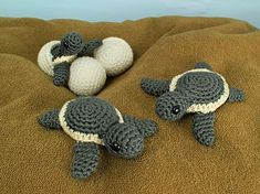 Baby Sea Turtle Collection includes three original crochet amigurumi patterns: Baby Sea Turtle, Hatching Sea Turtle, and Turtle Egg, by June Gilbank.