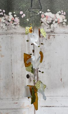 Glass wind chime, windchimes in olive green, amber bronze and frosted, rustic yard art, garden mobile suncatcher, Christmas gift for dad