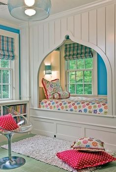 Perfect little girls room.  I would love to do this, but have the room big enough for when she gets older, it can just be a window seat, not actually her bed.