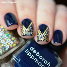 Diseños de uñas Blue Gold Nails, Henna Designs, Nail Designs, Paws And Claws, Funky Nails, Nail Colors, Nail Art, Fancy, My Favorite Things