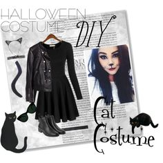 Halloween Costume DIY- Cat Costume by thosewhowonderarenotalwayslost on Polyvore featuring H&M, Monki and KamaliKulture