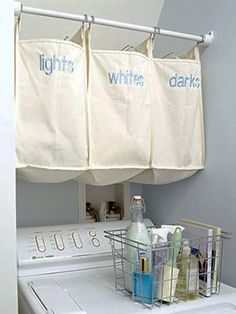 While I think this is a great idea AND have all the items to do it there are 2 problems.  #1. I've NEVER had a laundry room in which any shower curtain rod would extend all the say across.  #2. Those bins are cool BUT way too high!  I couldn't reach them!