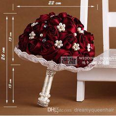 Wholesale Wedding Bouquet - Buy 2014brooch Bouquet 22*26CM Wine Red Handmade Crystal Pearls/Rhinestone Braidal Wedding Bouquet Stain And Silk Folower Wedding Supplies, $52.55 | DHgate