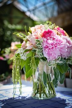 beautiful pink bouquet, love all the greens