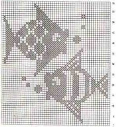 Crochet patterns toys little cotton rabbits 58 New Ideas Filet Crochet, Crochet Fish, Crochet Motifs, Crochet Mittens, Crochet Blocks, Crochet Chart, Crochet Doilies, Knitting Charts, Knitting Stitches