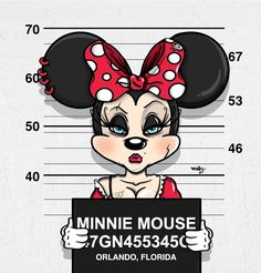 "Disney's Fall from Grace: ""Minnie Mouse"" as ""Bad Guys"" mug shots series by graphic illustrator Jose Duran (via DesignFaves 2014-11 ) • official site: www.mebzart.com"