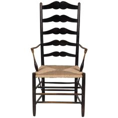 Ebonized Ash Ladderback Armchair by Earnest Gimson | From a unique collection of antique and modern chairs at https://www.1stdibs.com/furniture/seating/chairs/