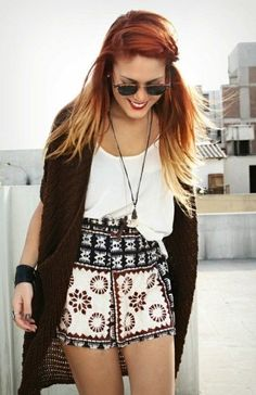 High-waisted shorts with a really fun pattern on them. Nuff said. The plain-white tee and black cardigan/sweater make this outfit casual but classy and even comfy.