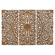Deco 79 14323 Extra Large Hand-Carved Brown Wood Wall Panels with Floral & Acanthus Designs Wall Decor Set, Wood Wall Decor, Carved Wood Wall Art, Hand Carved, Wood Artwork, Wood Panel Walls, Wood Paneling, Wood Plaques, Floral Wall