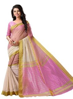 Regalia Ethnic Pink And Cream Tussar Silk Saree With Unstitched Blouse Piece Sarees on Shimply.com