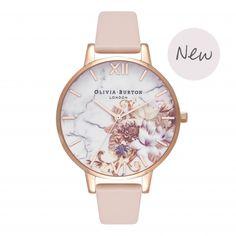 Ladies Marble Floral Nude Peach & Rose Gold Watch | Olivia Burton London