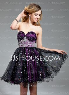 Homecoming Dresses - $132.99 - A-Line/Princess Sweetheart Short/Mini Tulle Homecoming Dress With Ruffle Beading (022019586) http://jjshouse.com/A-Line-Princess-Sweetheart-Short-Mini-Tulle-Homecoming-Dress-With-Ruffle-Beading-022019586-g19586