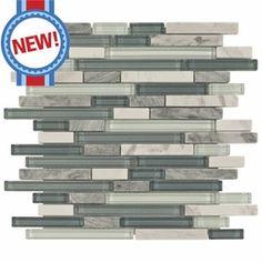 New backsplash: Bliss Waterfall Glass Stone Linear Blend Mosaic Tile