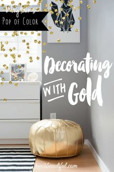 Wayfair's Pop of Color Campaign: Dwell Beautiful shows how she incorporated some bold gold accents into her neutral office space! Get tips for working metallics into your own design. #wayfairathome #wayfair
