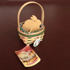 Longaberger Limited addition basket 1999 Easter basket large product number 14061. Has Easter tie on wooden Easter bunny divider and material liner in perfect shape never used always stored.   Perfect for a baby or grandbabies first Easter or if your child was born in 1999 a great remembrance Longaberger Other
