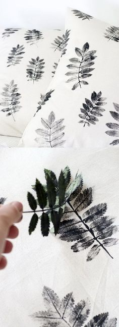 DIY Leaf Print Pillows - Cat or Dog prints instead? Or child/ couples hand prints.