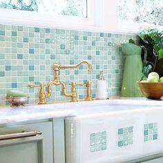 $44 for 4-1sq ft Self-Adhesive-Wall-Tiles-Peel-And-Stick-Backsplash-Kitchen-Bathroom-Green-Blue