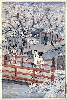 torii gallery: Cherry Blossom Viewing, Omiya Hachiman Shrine, Tokyo by Shiro Kasamatsu Japanese Woodcut, Art Chinois, Geisha Art, Art Asiatique, Art Japonais, Found Art, Japanese Painting, Japanese Prints, Japan Art