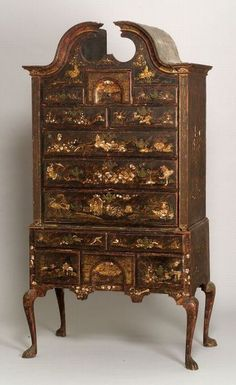 Chic Chinoiserie:Rare Queen Anne Japanned Maple and Pine High Chest of Drawers Period Furniture, My Furniture, Chinoiserie, Oriental Furniture, Chippendale Furniture, Early American Furniture, Furniture, Ornate Furniture, Furniture Auctions