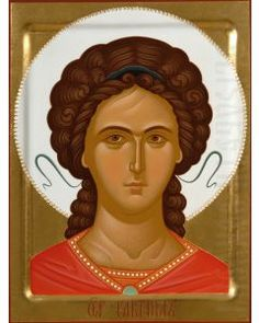 painted orthodox icon of archangel gabriel