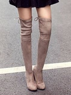 Shop Beige Stretch Lacing Back Heeled Over the Knee Boots from choies.com .Free shipping Worldwide.$84.9