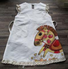 Девушка платье - окрашены платье- белое платье - размер по высоте 104 см - Детские летние одежды - мой маленький пони - деревенский белье девушки одеваются