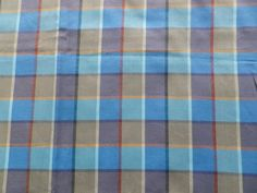 Vintage Retro Blue Fawn Check Cotton Mix Dress Skirt Fabric in Collectables, Sewing/ Fabric/ Textiles, Fabric/ Textiles   eBay