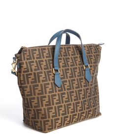 Fendi brown zucca canvas convertible zippered tote | BLUEFLY up to 70% off designer brands