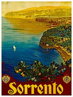Italy Travel Poster Sorrento Decor Wall Art Print by Blivingstons
