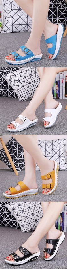 US$18.97 Candy Color Leather Buckle Metal Color Match Platform Beach Sandals Slippers_Women Summer Sandals_Beach Sandals For Woman_Beach Women Slippers